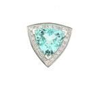 18ct White Gold Contemporary Aquamarine & Diamond Pendant