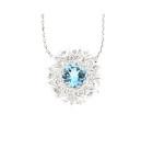 18ct White Gold Aquamarine & Diamond Round Pendant