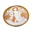 Antique 18ct Gold White Shell Cameo Brooch