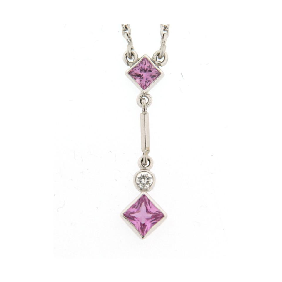 18ct white gold pink sapphire pendant j e allnutt son 18ct white gold pink sapphire pendant aloadofball Gallery
